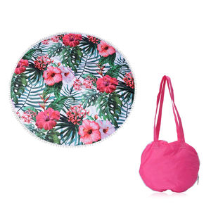 2 in 1 Floral Pattern 20% Cotton and 80% Viscose Multi Purpose Towel (82x29 in) and Pink Tote