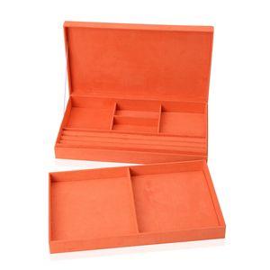 Orange Velvet Two Tier Jewelry Box with 3D Cat Painting (14.5x8.3x4 in)