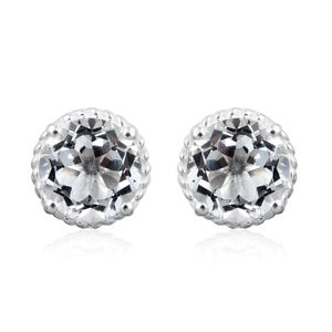 White Topaz Sterling Silver Stud Earrings TGW 4.84 cts.
