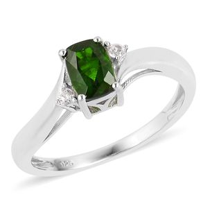 Russian Diopside, White Zircon Sterling Silver Ring (Size 5.0) TGW 1.00 cts.