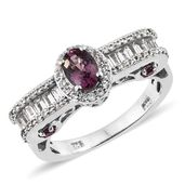 Burmese Lavender Spinel, White Topaz, Purple Garnet Platinum Over Sterling Silver Royal Ring (Size 8.0) TGW 1.97 cts.