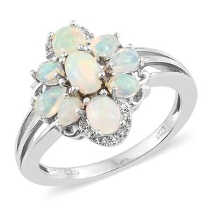 Ethiopian Welo Opal Ring in Platinum Over Sterling Silver 1.54 cttw (Size 5.0)
