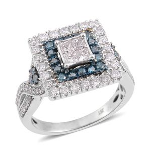 10K WG Diamond (H I3), Blue Diamond (IR) Ring (Size 7.0) TDiaWt 1.00 cts, TGW 1.00 cts.