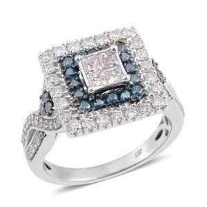 10K WG Diamond (H I3), Blue Diamond (IR) Ring (Size 7.0) TDiaWt 1.00 cts, TGW 1.00 cts.