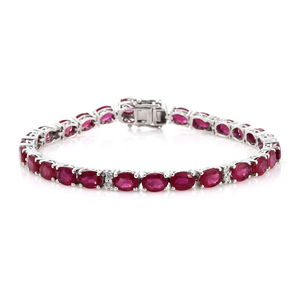 Customer Appreciation Day Niassa Ruby, Cambodian Zircon Platinum Over Sterling Silver Line Bracelet (8.00 In) TGW 29.70 cts.