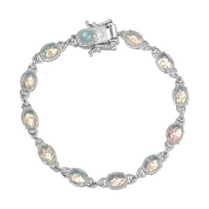 Ethiopian Welo Opal Platinum Over Sterling Silver Line Bracelet (7.25 In) TGW 5.65 cts.