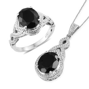 Thai Black Spinel Platinum Over Sterling Silver Ring (Size 10) and Pendant With Chain (20 in) TGW 12.40 cts.
