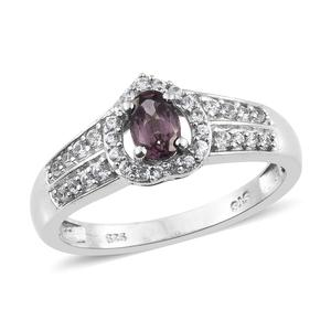 Burmese Lavender Spinel, Cambodian Zircon Platinum Over Sterling Silver Ring (Size 8.0) TGW 0.85 cts.