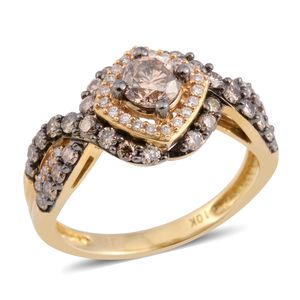 10K YG Natural Brown Diamond, Diamond Ring (Size 7.0) TDiaWt 1.25 cts, TGW 1.25 cts.