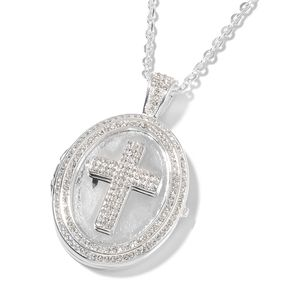 White Austrian Crystal Stainless Steel Cross Pendant With Chain (20 in) TGW 1.89 cts.