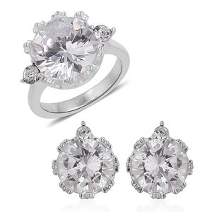 Simulated Diamond, Austrian Crystal Stainless Steel Earrings and Ring (Size 9) TGW 4.60 cts.