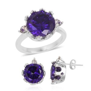 Simulated Amethyst, Austrian Crystal Stainless Steel Earrings and Ring (Size 7) TGW 4.60 cts.
