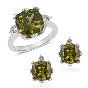 Simulated Vesuvianite, Austrian Crystal Stainless Steel Earrings and Ring (Size 9) TGW 4.60 cts.