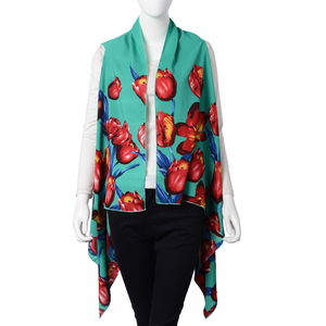 Green Tulip Pattern 100% Polyester Sleeveless Kimono (35.44x55.12 in)