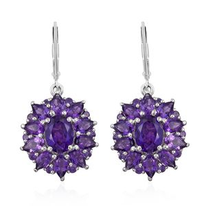 Lusaka Amethyst Platinum Over Sterling Silver Earrings TGW 6.96 cts.