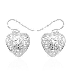 Sterling Silver Dangle Openwork Heart Earrings (5.8 g)