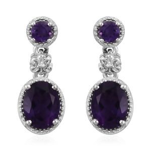 Lusaka Amethyst Platinum Over Sterling Silver Earrings TGW 4.04 cts.