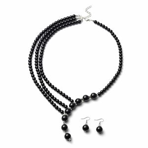 Black Glass Pearl Black Oxidized Silvertone & Stainless Steel Earrings and Necklace (24 in) TGW 810.50 cts.