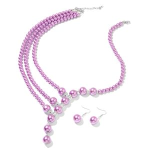 Purple Glass Pearl Black Oxidized Silvertone & Stainless Steel Earrings and Necklace (24 in) TGW 762.00 cts.
