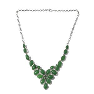 Artisan Crafted Burmese Green Jade, Russian Diopside Sterling Silver Floral Necklace (18 in) TGW 115.25 cts.