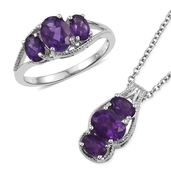 Lusaka Amethyst Platinum Bond Brass Ring (Size 10) and Pendant With Stainless Steel Chain (20 in) TGW 4.04 cts.