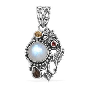Artisan Crafted Rainbow Moonstone, Multi Gemstone Sterling Silver Pendant without Chain TGW 5.44 cts.