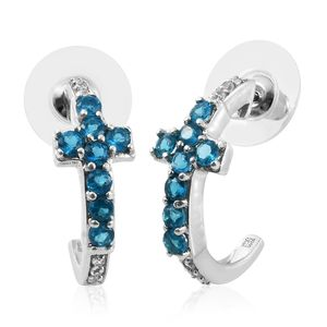 Malgache Neon Apatite, Cambodian Zircon Platinum Over Sterling Silver Cross J-Hoop Earrings TGW 1.69 cts.