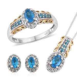 Malgache Neon Apatite, Cambodian Zircon 14K YG and Platinum Over Sterling Silver Ring (Size 9), Halo Stud Earrings and Pendant With Chain (20 in) TGW 2.34 cts.