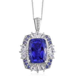 Playa Quartz, Multi Gemstone Platinum Over Sterling Silver Pendant With Chain (20 in) TGW 14.70 cts.