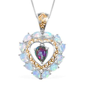 Northern Lights Mystic Topaz, Ethiopian Welo Opal 14K YG and Platinum Over Sterling Silver Inner Drop Pendant With Chain (20 in) TGW 2.85 cts.
