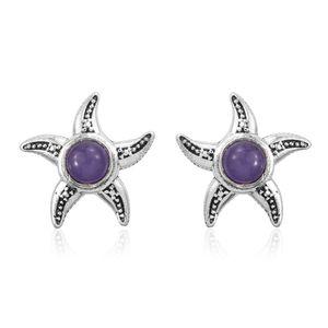 Burmese Purple Jade Sterling Silver Starfish Stud Earrings TGW 2.52 cts.
