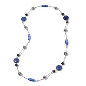 Lapis Lazuli, Multi Gemstone Black Oxidized Silvertone Necklace (34 in) TGW 284.50 cts.