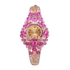 STRADA Pink and White Austrian Crystal Japanese Movement Water Resistant Peacock Bangle Watch in Goldtone with Stainless Steel Back