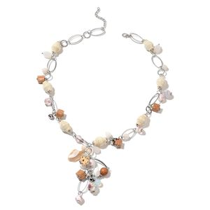 White Ceramic, Multi Gemstone Silvertone Necklace (28 in) TGW 600.00 cts.