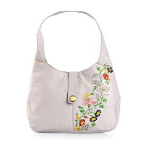 Lilac Genuine Leather Floral Embroidered RFID Hobo Bag (13x3x11 in)