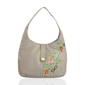 Gray Genuine Leather Floral Embroidered RFID Hobo Bag (13x3x11 in)