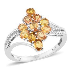 Orange Sapphire Platinum Over Sterling Silver Split Ring (Size 10.0) TGW 2.35 cts.