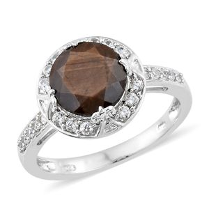 Chocolate Sapphire, Cambodian Zircon Platinum Over Sterling Silver Ring (Size 7.0) TGW 6.05 cts.
