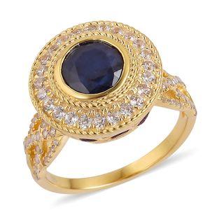 Masoala Sapphire, Multi Gemstone 14K YG Over Sterling Silver Royal Ring (Size 6.0) TGW 6.60 cts.