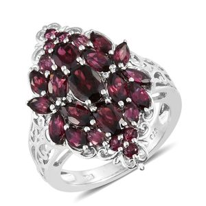Orissa Rhodolite Garnet, Cambodian Zircon Platinum Over Sterling Silver Elongated Openwork Ring (Size 5.0) TGW 5.45 cts.