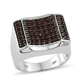 Mozambique Garnet Platinum Over Sterling Silver Men's Ring (Size 12.0) TGW 2.84 cts.