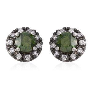 14K WG Green Diamond (IR), Diamond Stud Earrings TDiaWt 1.20 cts, TGW 1.20 cts.