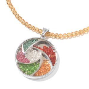Simulated Citrine Beads, Multi Color Simulated Gemstone Stainless Steel Pendant With Necklace (18 in)