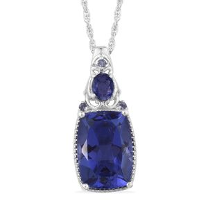 Playa Quartz, Catalina Iolite Platinum Over Sterling Silver Pendant With Chain (20 in) TGW 7.66 cts.