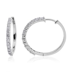 14K WG Diamond (G I1) Hoop Earrings TDiaWt 1.50 cts, TGW 1.50 cts.
