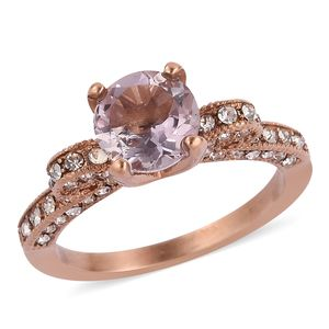 Rose De France Amethyst, White Austrian Crystal ION Plated RG Stainless Steel Ring (Size 6.0) TGW 1.56 cts.