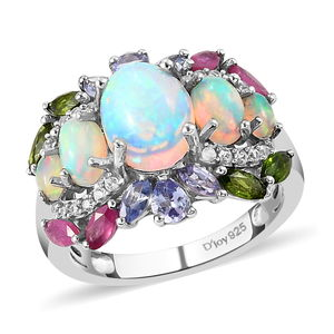 Ethiopian Welo Opal, Multi Gemstone Platinum Over Sterling Silver Ring (Size 7.0) TGW 3.93 cts.