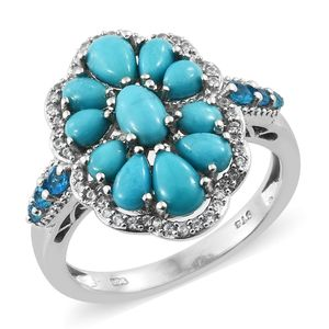 Arizona Sleeping Beauty Turquoise, Multi Gemstone Platinum Over Sterling Silver Floral Ring (Size 5.0) TGW 3.33 cts.