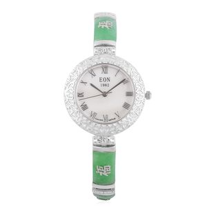 EON 1962 Swiss Movement Water Resistant Bracelet Watch in Sterling Silver with Burmese Green Jade Strap & Stainless Steel Back TGW 30.00 cts.