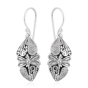 Bali Legacy Collection Natural White Zircon Sterling Silver Threader Dragonfly Earrings TGW 0.48 cts.